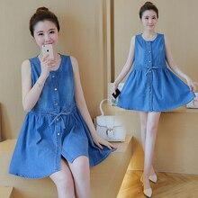 Plus Size Denim Blue font b Maternity b font Dress for Pregnant Women Summer Button font