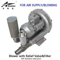 single phase 1HP Industry Ring blower filling bottles regenerative blower with Relief Valve&filter for air supply