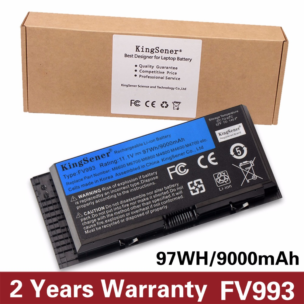 KingSener Korea Cell FV993 Battery For DELL Precision M6600 M6700 M6800 M4800 M4600 M4700 FJJ4W PG6RC R7PND OTN1K5 11.1V 97WH original laptop battery for dell precision m4600 m4700 m4800 t3nt1 n71fm fjj4w 65wh