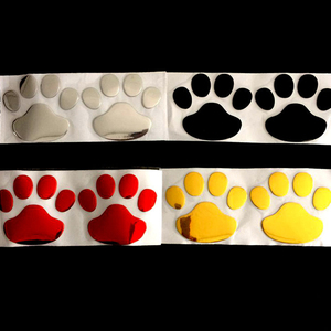 Image 4 - Car Sticker Cool Design Paw 3D Animal Dog Cat Bear Foot Prints Footprint 3M Decal Car Stickers Silver Gold Red Car Accessories