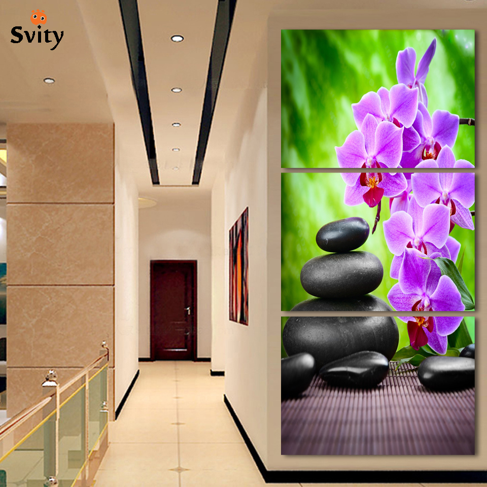 3 Panel Modern Abstract Flower Painting On Canvas Wall Art Cuadros orchid Flowers Picture Home Decor For Living Room No Frame