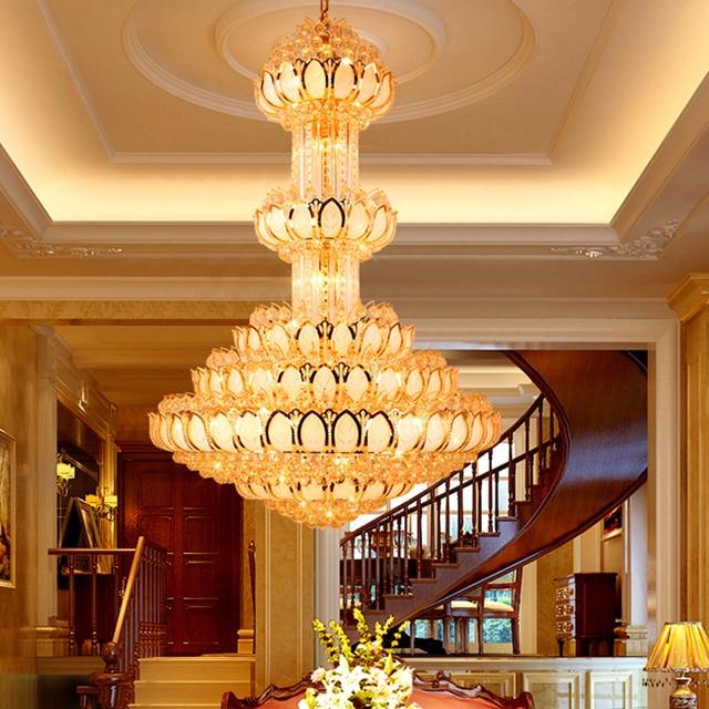Crystal chandelier lighting fixture led gold chandeliers lotus lamp crystal chandelier lighting fixture led gold chandeliers lotus lamp big long droplight hotel lobby hall villa aloadofball Choice Image