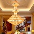 Kristall kronleuchter Leuchte LED Gold Kronleuchter Lotus Lampe Große Lange Droplight Hotel Lobby Halle Villa Hause Innenlicht|Kronleuchter|Licht & Beleuchtung -