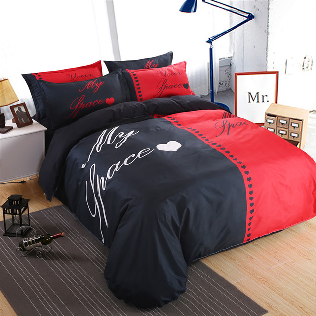modern red and black my space bedding set duvet cover bed sheet