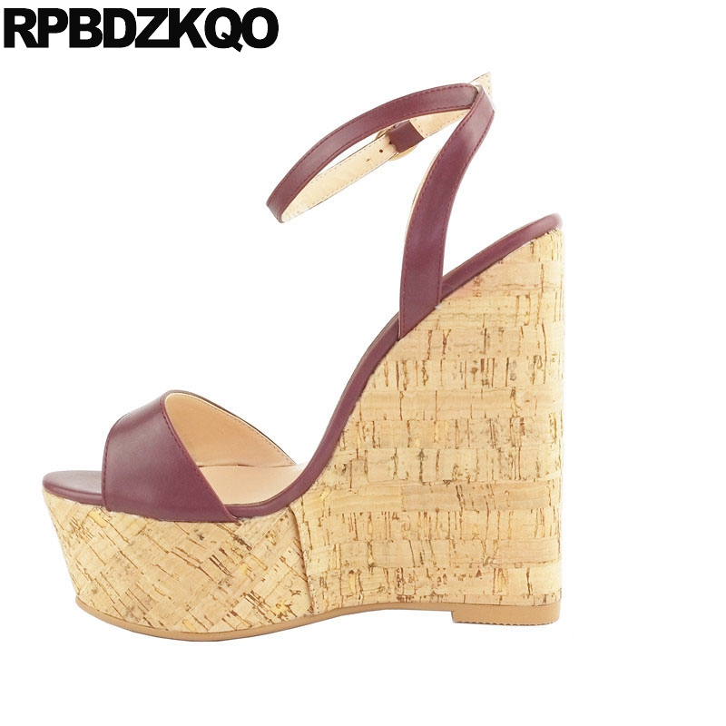 2f11a08c071 Pumps Shoes Large Size High Heels Cork Sexy Crossdressed Burgundy Fetish  Women 11 Ankle Strap Platform Wedge Sandals Summer