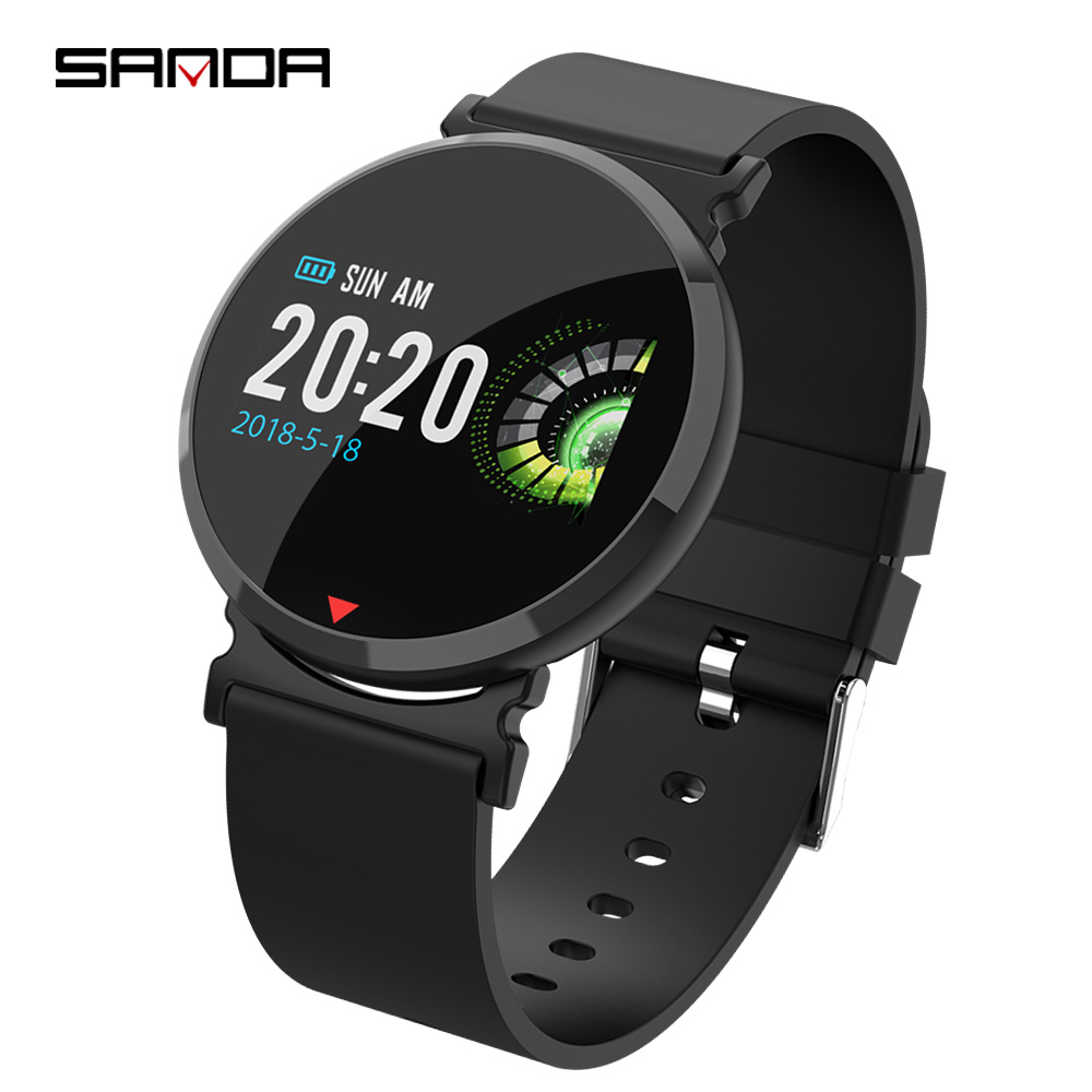 Sanda New Smart Black Watch Color Screen Heart Rate Sports Waterproof Meter Step Band Fashion Couples Watch For Men And Women