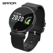 Sanda new smart black watch color screen heart rate sports waterproof meter step band fashion couples watch for men and women new snake table wholesale fashion jewelry for men and women present binary watch for waterproof led lovers steel band watch