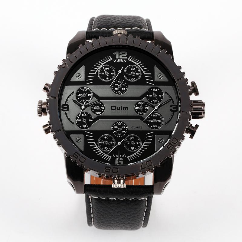 Prix pour Oulm Hommes Grand Visage Montres 4 Fuseau horaire En Cuir Bande Casual Japon Mouvement À Quartz Montre-Bracelet Montre De Luxe