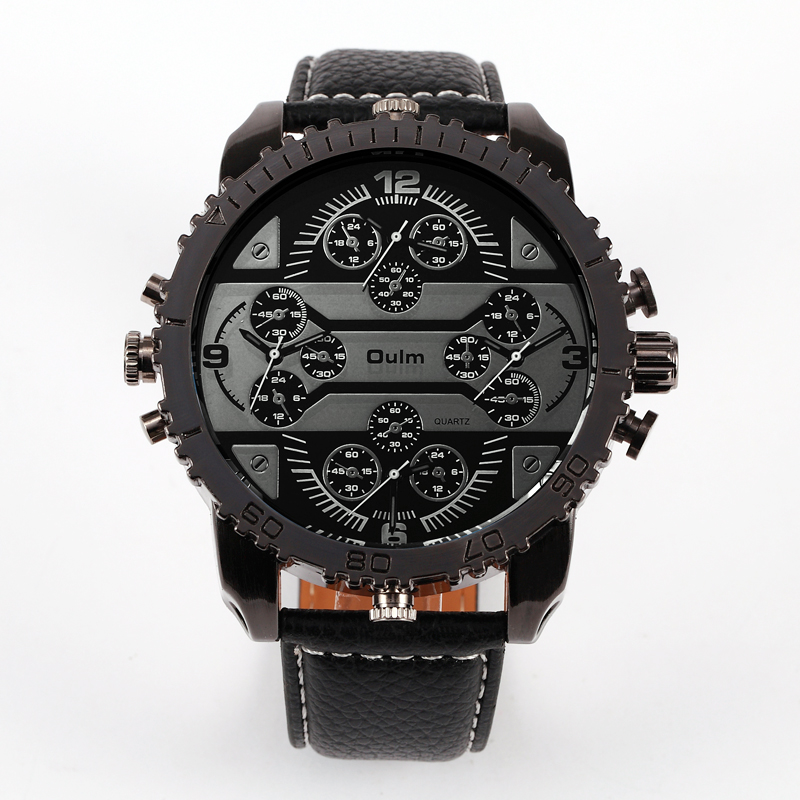 Oulm Mens Big Face Watches 4 Time Zone Leather Band Casual Japan Quartz Movement Wrist Watch Luxury Timepiece