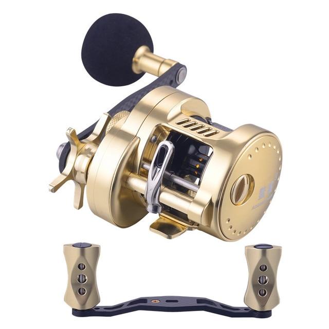 WOEN HG300 All metal Sea fishing wheel Magnetic brake Carbon Crank Iron plate wheel Boat fishing wheel Speed ratio: 5.2:1