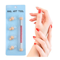 Кисть для ногтей Губка для удаления лака ручка Кисть для ногтей инструменты для дизайна ногтей