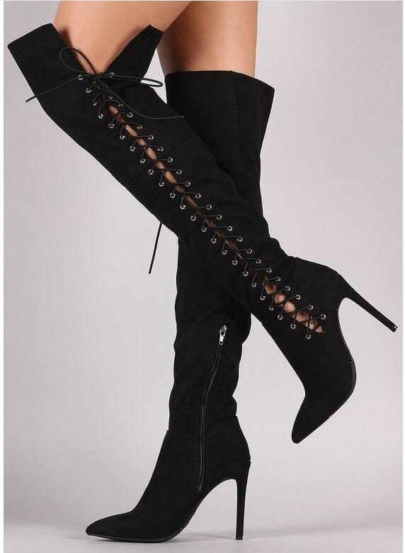 Hot Sexy Fashion Black Gray Leopard Flock Over the Knee Shoes Pointed Toe Thin Heels Shoes Cross Tied Zip Women 39 s Boots in Over the Knee Boots from Shoes