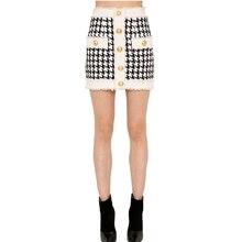 HIGH STREET najnowszy 2019 jesień zima barokowy projektant spódnica damska z frędzlami Houndstooth Tweed Mini spódnica
