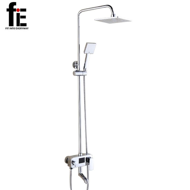 fiE Digital Display Shower Faucet Set Water Powered No Need Battery 8 Inch Rain Shower Head Tub Mixer Faucet water qinxin anion small spa rain shower hose shower base set white