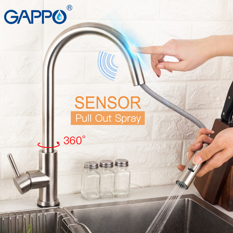 GAPPO Stainless Steel Touch Control Kitchen Faucets Smart Sensor Kitchen Mixer Touch Kitchen Faucet Pull Out Sink Tap