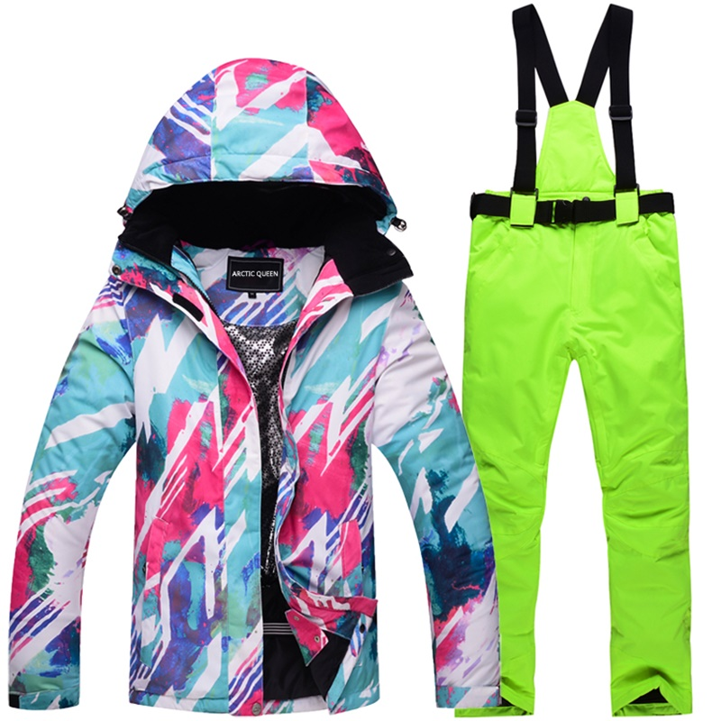 -30 womens skiing suit snowboarding clothes waterproof & windproof female snow costumes outdoor ski jackets Suspender Pants gsou snow womens outdoor ski pants high waist denim skiing pants female snowboarding pants thickening windproof waterproof warm