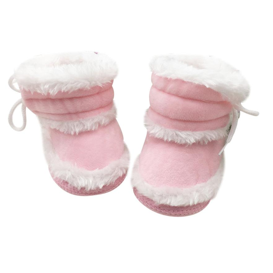 Baby Boots 2017 Fashion Prewalker Warm Shoes Toddler Newborn Baby Girl Solid Boots Soft Sole Boots D50