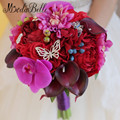 Butterfly Red Crystal Bouquets Wedding Silk Throw Flowers Orchid Bridal Bouquet Cymbidium Calla Lily Bridesmaid Bruidsboeket