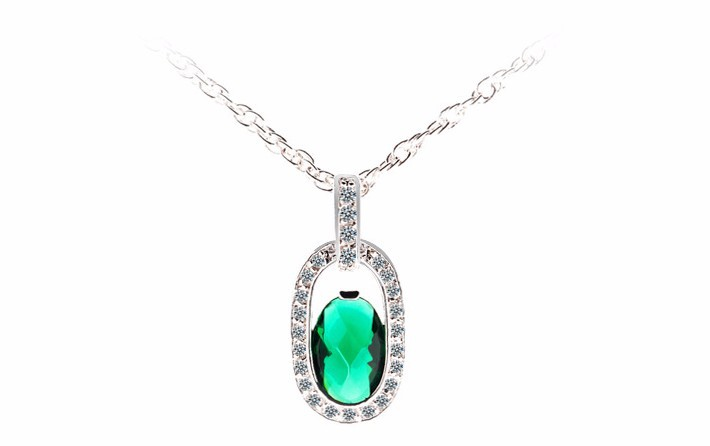 Women\'s AAA+Zircon Emerald Crystal Pendant Necklace Luxury CZ Diamond Women Brand Jewelry Gold Plated Necklace Collars Mujer Hot 1