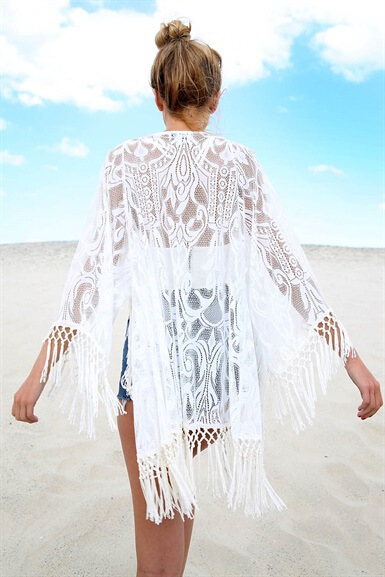 YCDKK 2017 White Sexy Women Lace Crochet Tassel Bikini Swimwear Cover Up Woman Beach Dress Bathing Suit Beach Swimwear cover up 1