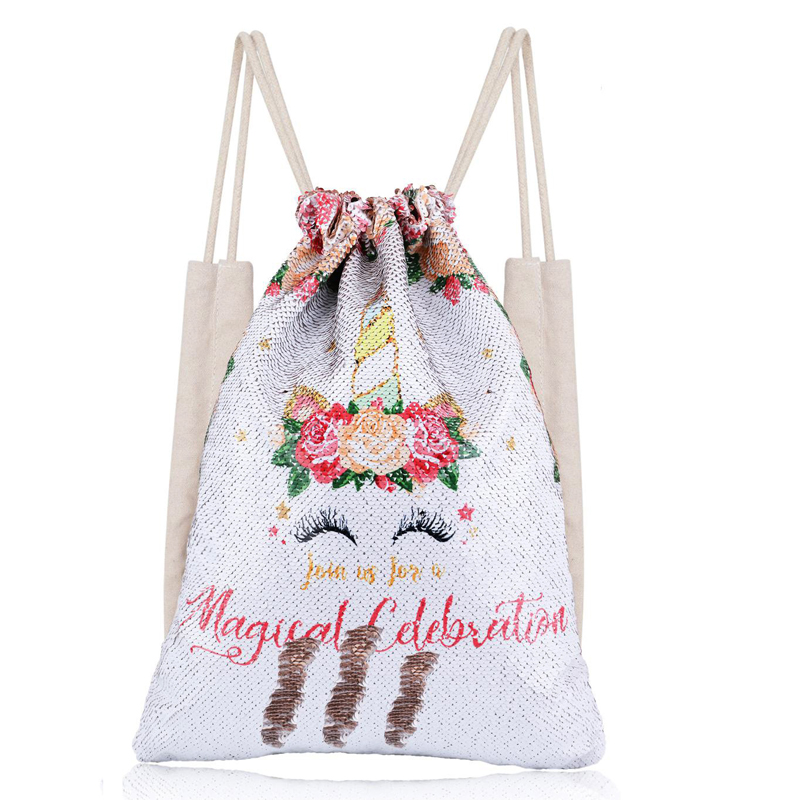 Outdoor Unicorn Drawstring Backpack Girls Sequin Patch Bags Cotton Shopping Soft Bag Travel Beach Backpack Fashion