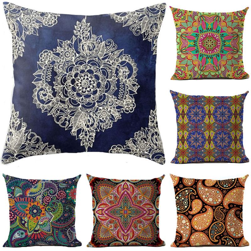 Ethnic Bohemian Style Cotton Linen Decorative Pillow Case Vintage Geometric Chair Seat Square Pillow Cover Home Textile