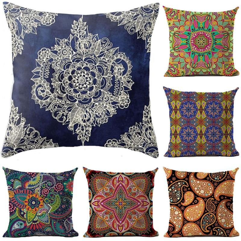 Ethnic Bohemian Style Cotton Linen Decorative Pillow Case Vintage Geometric Chair Seat Square Pillow Cover Home Textile