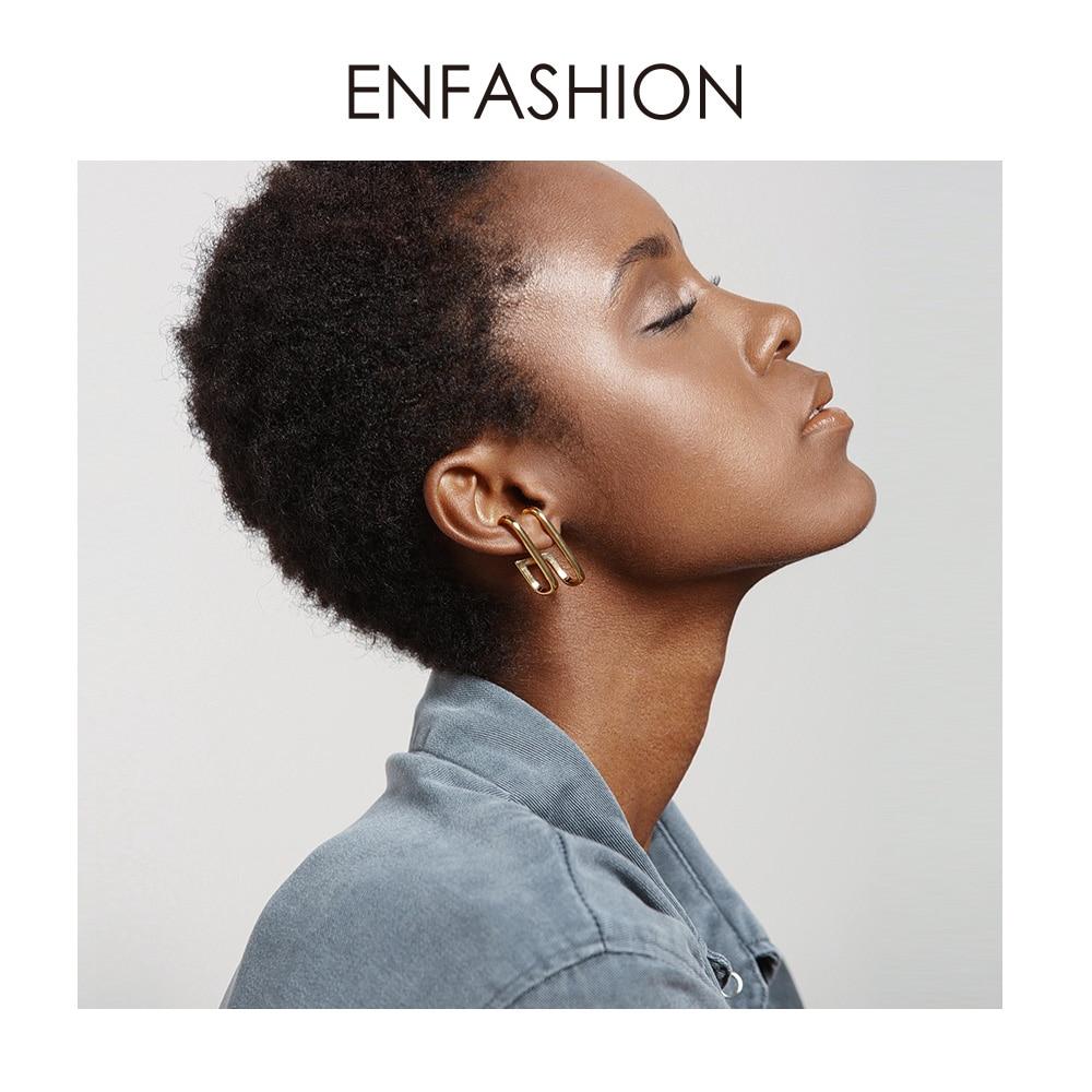 ENFASHION Double C Geometric Stud Earrings For Women Accessories Gold Color OL Minimalist Earings Fashion Jewelry Kolczyki E1041