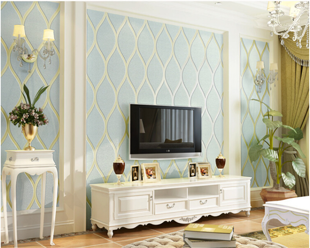beibehang European TV background wall paper embossed non woven modern minimalist wallpaper bedroom living room papel de parede beibehang mediterranean blue striped 3d wallpaper non woven bedroom pink living room background wall papel de parede wall paper