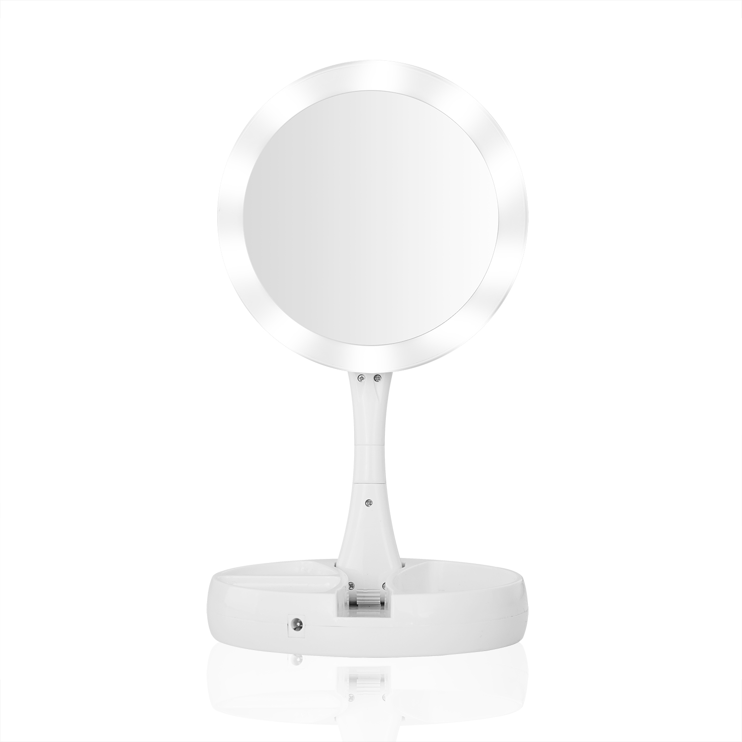 Lighted Travel Makeup Mirror 1x And 10x Magnifying Storage Mirror