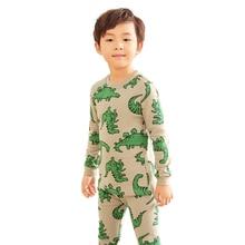 Купить с кэшбэком New fashion cartoon dinosaur kids pajamas set autumn winter boy Sleepwear long sleeve green T-shirt+Pants 2pcs Baby boys clothes