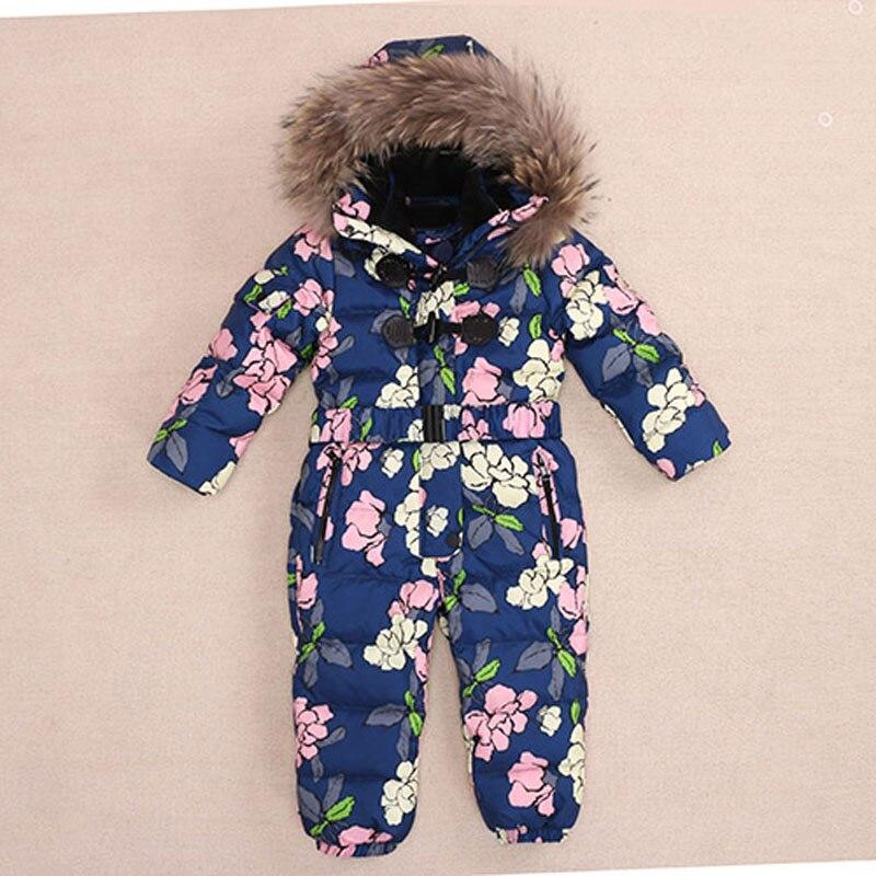 Baby Snowsuit Jumpsuits 2017 Winter Romper Baby Snowsuit Kids Boys Warm Overalls Girls Newborn Clothes Parka Thicken Down Parka