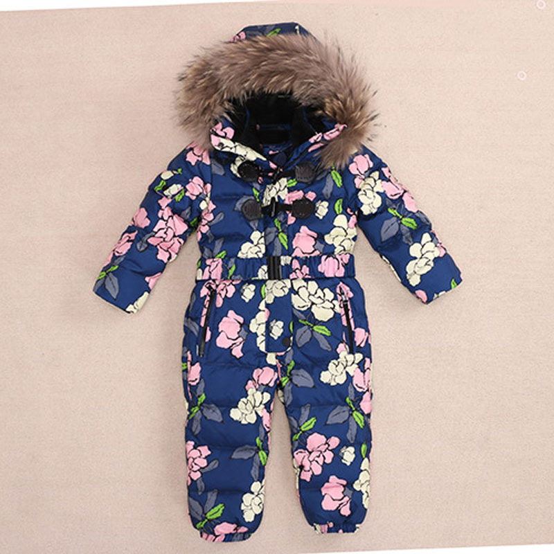 Baby Snowsuit Jumpsuits 2017 Winter Romper Baby Snowsuit Kids Boys Warm Overalls Girls Newborn Clothes Parka Thicken Down Parka