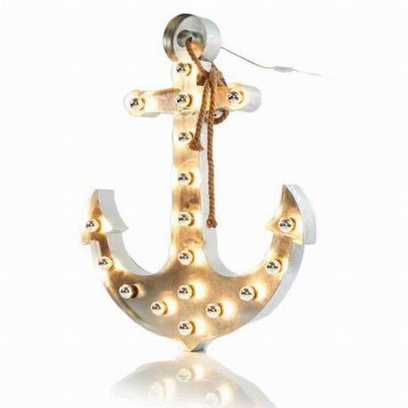 Grand grand chapiteau anchor lettre signe mur lumière lumières avec corde/43 pouce Hauteur NOUVEAUTÉ mur lampe luminaire