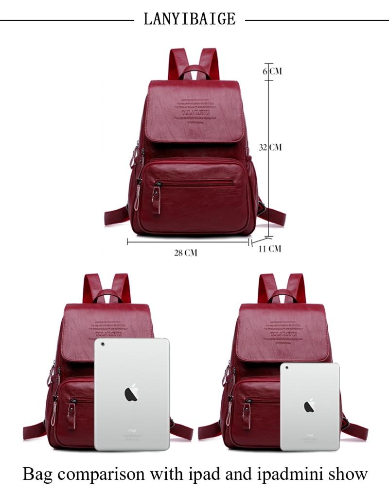 HTB1MrSfR3HqK1RjSZFgq6y7JXXag 2019 Women Leather Backpacks High Quality Ladies Bagpack Luxury Designer Large Capacity Casual Daypack Sac A Dos Girl Mochilas