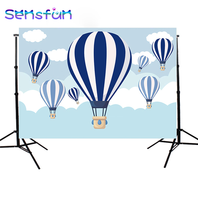Sxy968 Children photo background photophone hot air balloon backdrop ribbon cloud cartoon blue sky birthday party 7x5ft
