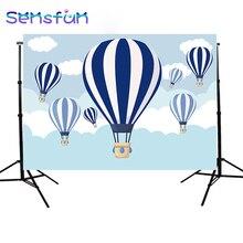 Sxy968 어린이 사진 배경 photophone 뜨거운 공기 풍선 배경 리본 구름 만화 푸른 하늘 생일 파티 7x5ft