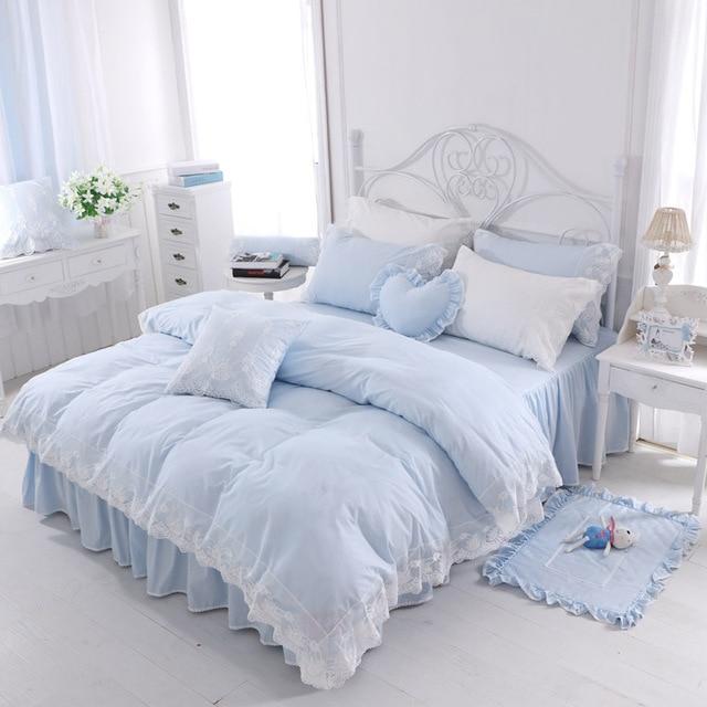 Koreanischen Stil Blau Spitze Bettwäsche Set Tagesdecke Mädchen Bett