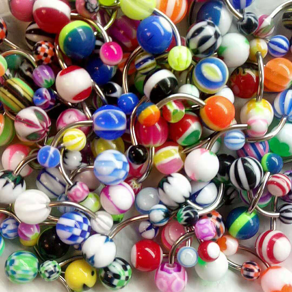 Steady 50pcs Random Mixed Color Belly Button Nailing Acrylic Umbilical Nail Belly Navel Ring Body Piercing Jewelry Home