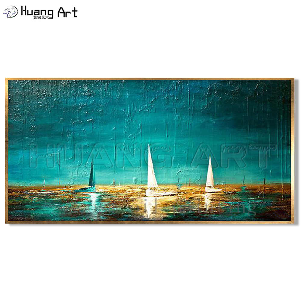 High Quality Abstract Heavy Textured Painting on Canvas Boats in Ocean Seascape Hand Painted Unique Wall Seascape Oil Painting