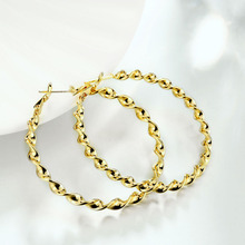 Luxury Gold Plating Earrings Russian Twisted Chain Round for Women Top Quality Trendy Jewelry Accessories