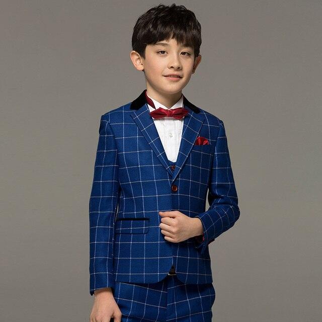 Brand Boy Clothes Blue Plaid England Fashion Child Kid Baby Formal Wedding Suits Kids Tuxedo
