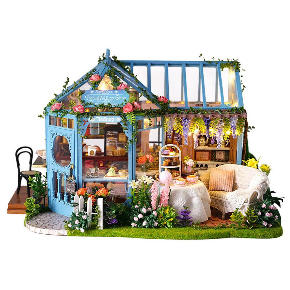 Lumière LED bricolage maison cabine Rose jardin thé maison à la main modèle Architectural en bois Villa innovante filles jouets