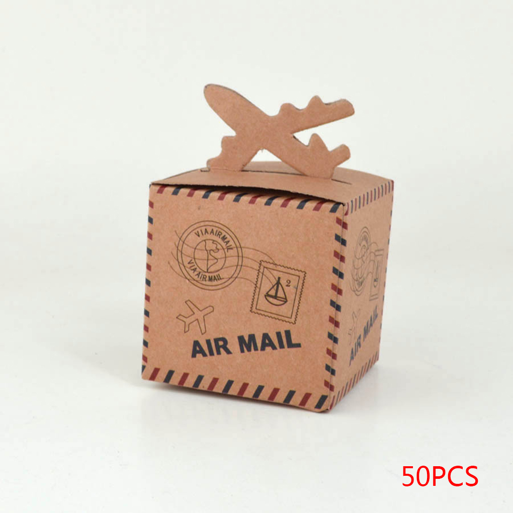 50Pcs Retro Air Mail Kraft Paper Candy Boxes Gift Boxes for Wedding Party Favors 6.x6.x6.cm