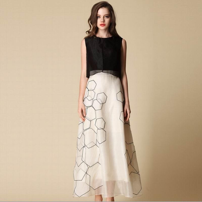 Bogeda Long Summer Dress Women 100%Silk Black-and-White