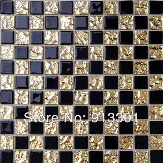 Schwarz Und Gold Glasfliese Mosaik Mischung Mosaikmuster Küche Backsplash  Fliesen Spiegel Badezimmer Bodenbeläge Designs