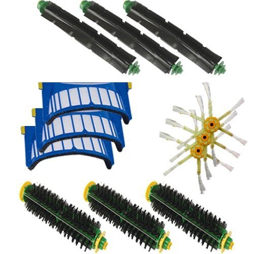 Aero Vac Filter Flexible Beater Brush 3-Armed Side Brush Bristle Brush Kit Cleaner Accessory For iRobot Roomba 500 600 Series aero vac filter bristle brush flexible beater brush 3 armed side brush tool for irobot roomba 600 series 620 630 650 660