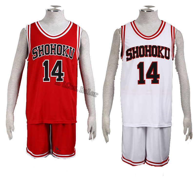 SLAM DUNK Mitsui Hisashi Cosplay Costume Shohoku High No.14 Red and White Customized Any Size