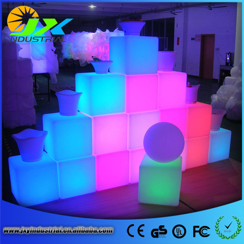 Outdoor waterproof 40cm Glowing Rechargeable luminous cube led coffee bar chair barstools remote control free shipping