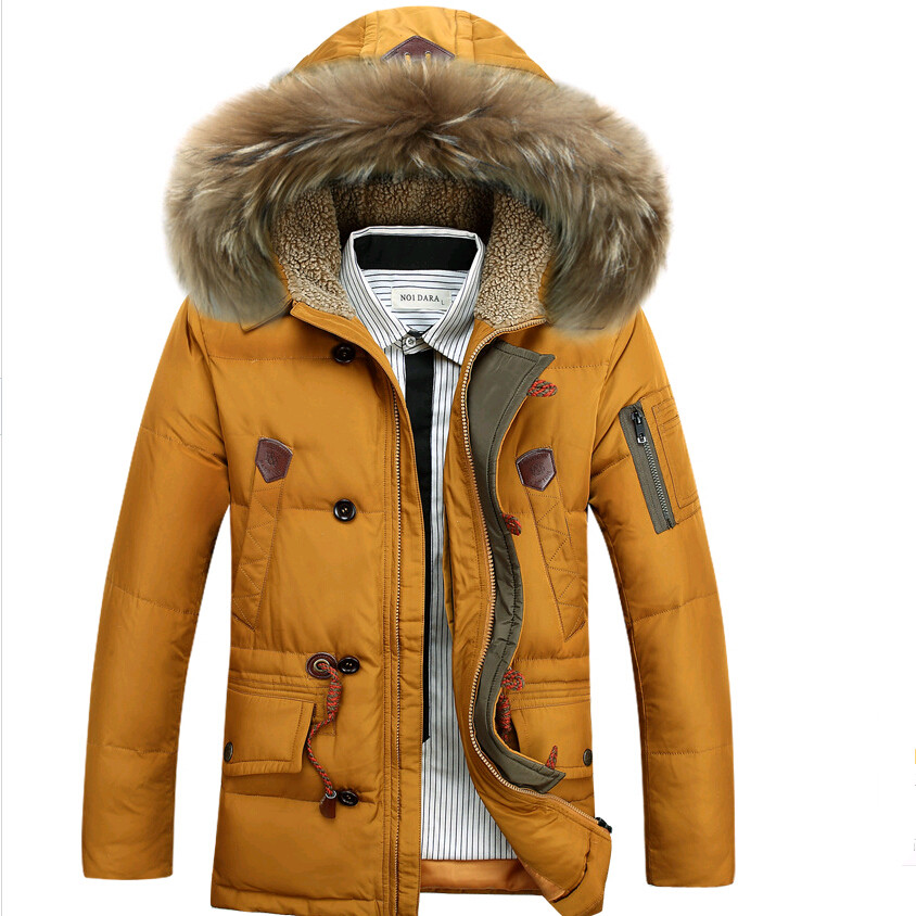 789b68564f37 Brand new winter down jacket men thickening business jackets middle long fur  jacket 90% white duck down coats